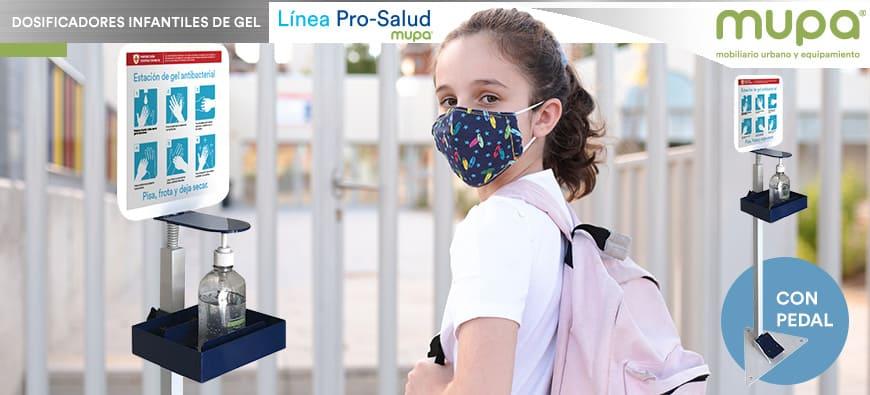 Dosificador de Gel Antibacterial de Pedal Infantil, MUPA® Mobiliario Urbano y Equipamiento